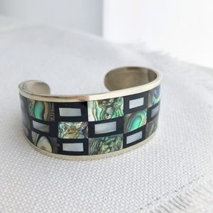 VINTAGE Abalone Alpaca Silver Inlaid Mexican Cuff